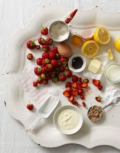Summer Strawberries - ingredients for a summer dessert from ourseasonaltable.com