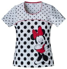 Round Neck Top in Limelight Minnie from Cherokee Uniforms - Medical scrubs, nursing uniforms and footwear Cherokee Uniforms, Cherokee Scrubs, Disney Scrubs, Cute Scrubs, Hello Kitty, Scrubs Outfit, Medical Scrubs, Nursing Scrubs, Red Pants