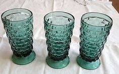 """3 Vtg Blue Teal Indiana Glass Whitehall Iced Tea Glasses Goblets 6"""" Cubist in Pottery & Glass, Glass, Glassware, 40s, 50s, 60s, Indiana   eBay"""