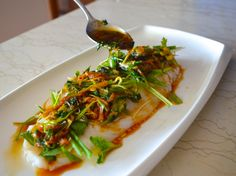 Cantonese-style Steamed Fish with Ginger and Scallion. try with roasted cod.
