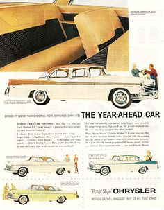 """1956 Chrysler Year Ahead Original Car and Truck Print Ad -An original vintage 1956 advertisement, not a reproduction -Measures approximately 10"""" x 13"""" to 11"""" x 14"""" -Ready for matting and framing."""