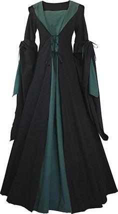 Dornbluth Damen Mittelalter Kleid Milienn Schwarz (52/54, Schwarz-Dunkelgrün)