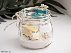 VW Bus Van / Beach Decor / Summer Home / Yellow Beach Car in a Jar / Summer Decor / Mason Jar / Sand Shells / beach scene