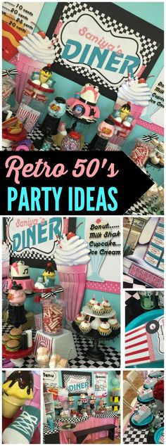 Love the details at this retro sock hop party! See more party ideas at Ca. Love the details 50s Theme Parties, 70th Birthday Parties, 50th Birthday Party, Birthday Games, Grease Themed Parties, 1950s Theme Party, Themes For Parties, Sweet 16 Party Themes, Retro Birthday