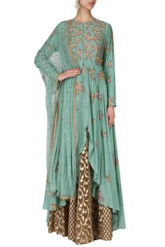 Featuring a mint green front open anarkali in chanderi silk base with embroidered yellow and pink floral motifs scattered all over the front and back. It is paired with brown brocade skirt and mint green net dupatta with embroidered motifs. Ethnic Fashion, Indian Fashion, Ethnic Trends, Pernia Pop Up Shop, Gorgeous Fabrics, Indian Designer Wear, Mint Green, Yellow, Anarkali
