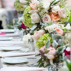 Lovely Reception Table Decor // Susan Bordelon Photography //  Centerpieces: Mark's Garden // http://www.theknot.com/weddings/album/a-romantic-garden-wedding-in-montecito-ca-139941