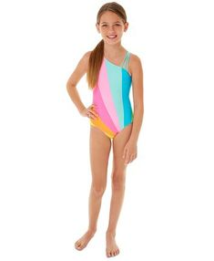 Nevera Baby Girls Rainbow Letter Print Beach Sport One Piece Swimsuit Swimwear