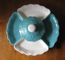 Vintage Blue and White California Pottery Lazy Susan from WhimsicalVintage on Ruby Lane