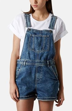Topshop Moto Denim Overall Shorts available at #Nordstrom