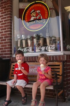 While the nostalgia is completely lost on these youngsters, the old- fashioned Soda Pops Ice Cream Emporium in Bryson City, NC serves the same timeless favorites their grandparents enjoyed — chocolate malts, floats, sundaes, banana splits and sugar cones crowned with freshly-scooped ice cream — choices that are perfectly in keeping with the shop's nostalgic decor.