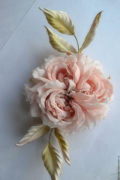 Купить Цветы из шелка Брошь Версаль - розовый, роза из ткани, брошь ручной работы