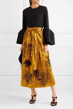Roksanda - Kalmar Embellished Crushed-satin Midi Skirt - Shiny gold - UK12