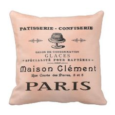 Pretty Paris French Patisserie Antique Art Pillow