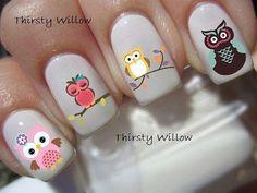 uñas decoradas de animales Owl Nails, White Nails, Nail Designs, Nail Art, How To Make, Owls, Tapas, Diana, Nail Care