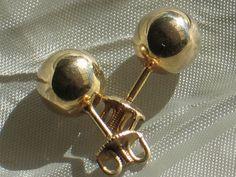 Vintage 10k Yellow Gold Ball Earrings.  Threaded Post, Pierced Stud Earrings.