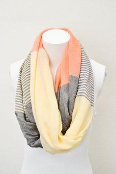 Orange Pashmina Infinity Scarf with Pastel Stripes