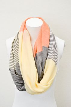 Orange Pashmina Infinity Scarf with Pastel Stripes and Color Blocking Fall Colors Scarves, Infinity Scarves, Orange Scarves, Yellow Scarves