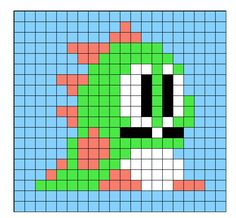 Instant Download - Bubble Bobble Perler Bead Sprite Pattern - Pattern Only - Nintendo NES Video Game Dragon Bub Bob Cute Kawaii Dinosaur