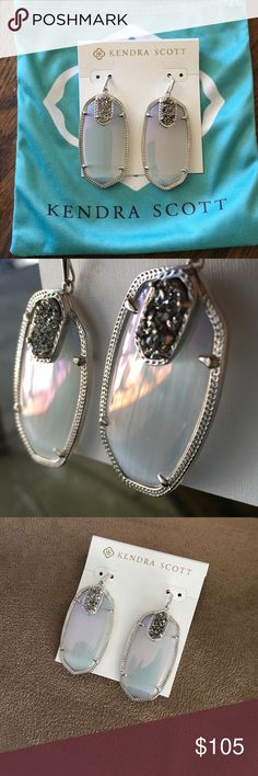 Kendra Scott Iridescent slate Darcy's Brand new and never worn, iridescent slate with platinum drusy and silver trim. Paid a lot for these but realized I just never wear silver. Absolutely beautiful! Kendra Scott Jewelry Earrings