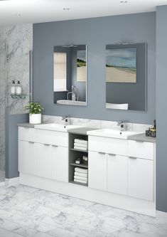 If you're looking to create a clean, contemporary look Alpine is the perfect choice for you and works especially well in smaller bathrooms to enhance the feeling of space. An open shelf unit in a contrasting finish can also create a stunning, eye catching effect. Small Bathroom, Bathrooms, Open Shelving, Bathroom Interior, Double Vanity, Atlanta, Shelf, The Unit, It Is Finished