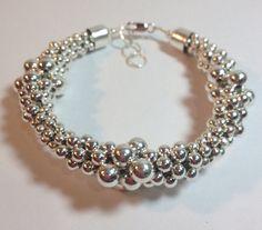 Graduated Silver Ball Kumihimo Bracelet Silver Jewelry