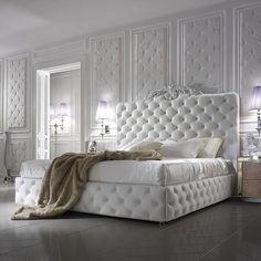 Luxury Italian Bed With Wide Nubuck Leather Headboard - Juliettes Interiors Italian Furniture, Luxury Furniture, White Furniture, Furniture Design, Contemporary Furniture, Luxury Bedroom Design, Interior Design, Ikea Interior, Luxury Interior