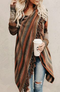 Striped Knit Sweater Cardigan with Fringe Details Cardigan En Maille, Fringe Cardigan, Oversized Cardigan, Striped Cardigan, Striped Knit, Pullover Sweaters, Sweater Cardigan, Cardigans, Brown Cardigan