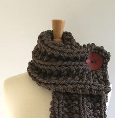 Chunky Knit Taupe Cowl Scarf with Large Red Button by AMarieKnits, $39.00