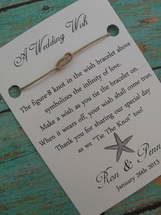 Starfish-Wedding Wish Favors - take out the star fish and perhaps add it to the invite or incorporate in wedding somehow