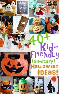 If you have small children, this round-up of 40+ kid-friendly, fright-free Halloween ideas is brimming with ideas for a happy, not-so-scary holiday! #Halloween