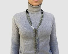 long necklace lariat and Y wool necklace statement