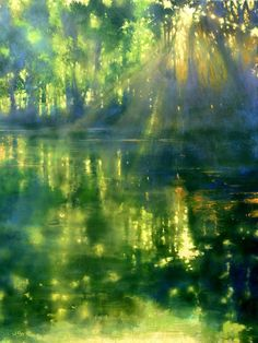 5 Apr 2020 - Large river painting with water reflections and dappled light called 'On the Banks of the Ouvèze River III' by John O'Grady. This mainly green original artwork with an abstract quality is available to buy direct from the artist. River Painting, Large Painting, Light Painting, Painting Of Water, Knife Painting, Artist Painting, Abstract Landscape Painting, Landscape Paintings, Abstract Art