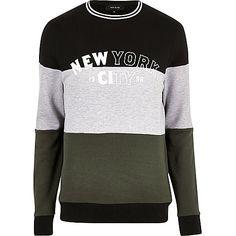 Dark colour block 'New York' sweatshirt - sweatshirts - hoodies / sweatshirts…