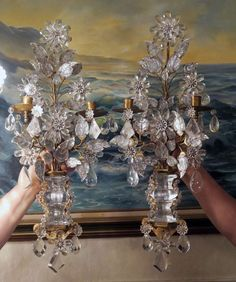Eye For Design: Decorating With Antique Crystal Sconces Crystal Sconce, Crystal Wall, Antique Chandelier, Chandelier Lighting, Chandelier Redo, Chandelier Crystals, Crystal Chandeliers, French Decor, French Country Decorating