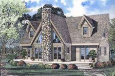 Log Style House Plan - 3 Beds 2.5 Baths 2402 Sq/Ft Plan #17-464 Exterior - Front Elevation - Houseplans.com