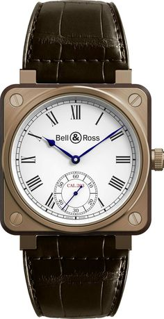 the BR 01 Instrument de Marine. Displaying a stylish, retro design, the watch has a bronze case, bezel and winding crown.