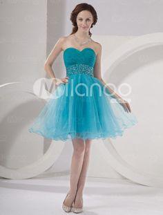 Stretch Satin Mini-Abendkleid für Homecoming mit Herz-Ausschnitt und Kunstdiamanten in Blau - Milanoo.com