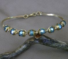 Handcrafted Teal Bracelet  Exquisite in Gold by by JewelryArtistry, $35.00