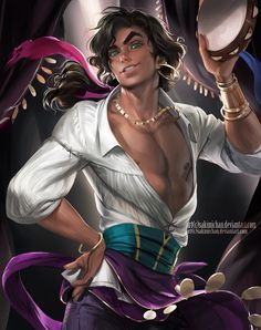 Male Esmeralda (Hunchback of Notre Dame). Anything Disney related including facts about Walt Disney. Fan art, illustrations, favorite Disney characters, theme park rides from other Disney parks around the world. Disney Fan Art, Disney Pixar, Disney E Dreamworks, Disney Love, Disney Girls, Disney Gender Swap, Gender Bent Disney, Gender Bender, Dark Disney