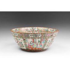 19th C. Chinese Export Famille Rose Medallion Punch Bowl