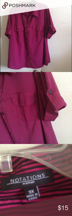 Fuschia & Black Top Half sleeve button up, collared striped shirt, very slimming in excellent used condition Notations Tops