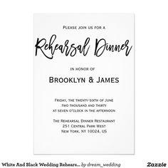 White And Black Wedding Rehearsal Invitations