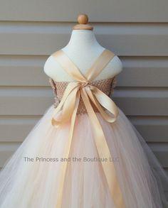 Flower girl dress tutu dress champagne by Theprincessandthebou