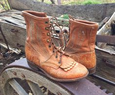 Vintage Women's 8 M (fits like  7 - 7.5) Larry Mahan tooled leather Packer cowgirl boot, lace-up cowgirl boot, granny boot, steampunk boot