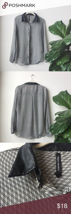 W.G.B. By Walter Baker Button Up Blouse Gorgeous sheer button down Blouse from WGB by Walter Baker. This top has black and white crosshatch pattern and a faux black leather collar. Super chic and perfect for work or weekends. Gently worn but in great condition. No trades please 💕 Walter Baker Tops Blouses