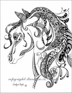 ORIGINAL INK DRAWING; zentangle, doodle, art, pen and ink, black and white, wall art, horse, spirit of the horse, by OriginalSandMore on Etsy