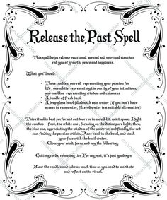 Release the Past Spell Image Witches' Dinner Party Witchcraft Spells For Beginners, Healing Spells, Magick Spells, Real Spells, Candle Spells, Hoodoo Spells, Wiccan Protection Spells, Latin Spells, Witch Spell Book
