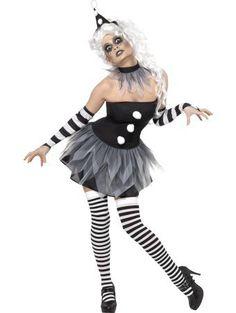7277eb8da1341c Vrouwen - Zwart met Witte Enge Pierrot Halloween Verkleedkostuum Costume  Halloween
