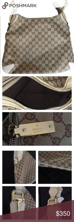 Gucci White Canvas Hobo Bag Gucci handbag in white canvas with Gucci logo print and gold hardware.  Some wear to outside (please see pictures).  The interior of the bag looks great.  Still has a lot of wear left! Gucci Bags Hobos