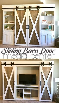 Sliding Barn Door Media Center featuring horseshoe barn door hardware and two-wone barn doors coated in Rustoleum Briarsmoke and Behr white paint. Perfect for any home! Sliding Barn Door Me Diy Furniture Projects, Home Projects, Woodworking Projects, Woodworking Furniture, Farmhouse Style, Farmhouse Decor, Sliding Barn Door Hardware, Sliding Door, Door Latches